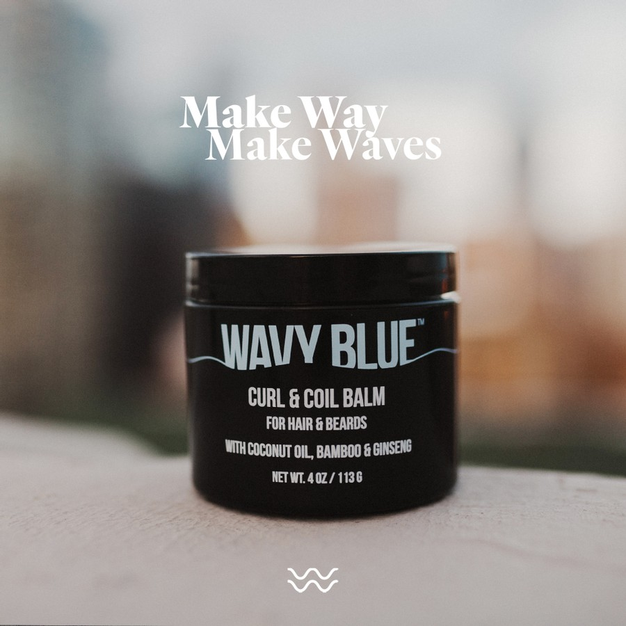 Wavy Blue jar with title that says Make way, Make waves